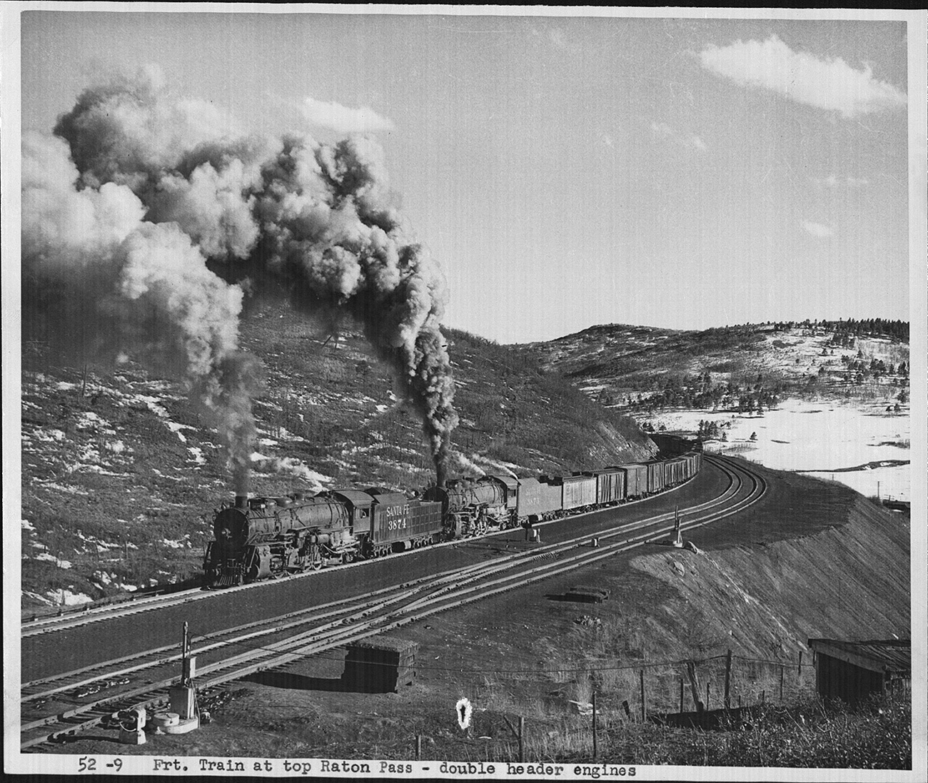 A dual-engine freight train moves at the top of the Raton Pass. Photo: BNSF Railway archives.